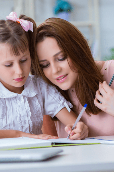 Mom encouraging daughter with homework words of encouragement for kids